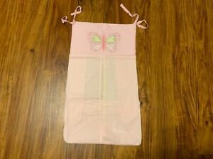 Babies R Us Pink With White Dots & Embroidered Butterfly Diaper Stacker Caddy