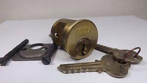 Rare NOS Original Independent Lock Brass 6 Pin Cylinder 2 Working Keys U + Parts