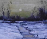 """Hazy Winter Sunset 10"""" X 8"""" Impressionist Original Oil Painting by Terry P Wylde"""