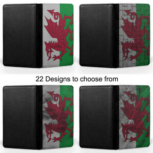Wales Welsh Dragon Flag Cyam am Byth Passport Holder Faux Leather Cover Case