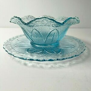Princess House Crystal Blue Serving Plate And Crimped Scalloped Round Fruit Bow