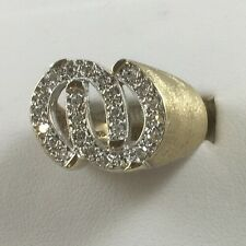 Certified 10K Yellow Gold With Natural Diamond Horseshoes Ring Size 9.25