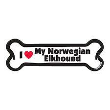 I Love My Norwegian Elkhound Dog Bone Car Magnet