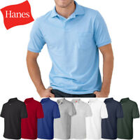 HANES Mens Polo Sport Shirt With Pocket Comfortblend Golf S, M, L, XL NEW