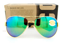 New Costa Del Mar Sunglasses SOUTH POINT Gold Green Mirror 580P POLARIZED