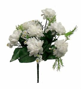 7 Mini Mums Artificial Bush Silk Flowers Fall Bouquets Faux Fake Chrysanthemums