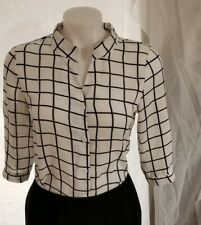 Womens White Black Checkered Shirt Button Down XXFS