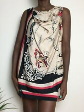 DKNY VINTAGE ladies Scarf Dress 100% Silk New York Building Size S 8-10 Red