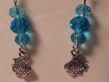 Bead Hook Earrings - Fashion Jewelry Silver Tone Tropical Fish Sea Blue Glass