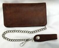"""Brown Leather Trucker Wallet 6.5"""" x 3.75"""" Hidden Snaps 12"""" Chain MADE IN USA"""