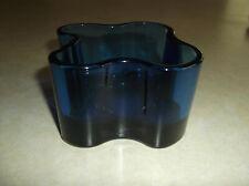 Vintage Alvar Aalto Collection by Iittala Glass Dish Candle Holder Dark Blue