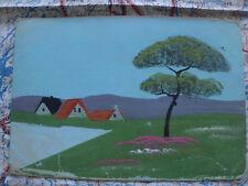 Landschaft Baum Dächer handbemalt Gemälde Kunstwerk Postkarte Ansichtskarte 3016