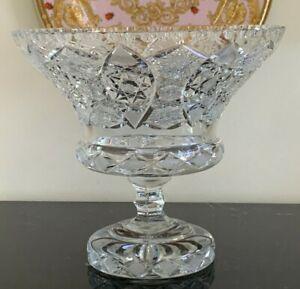 Breathtaking American Brilliant Crystal Compote Pedestal Bowl