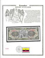 Ecuador 20 Sucres 1983 P 115b UNC w/ FDI UN FLAG STAMP Serie LJ Birthday 2005