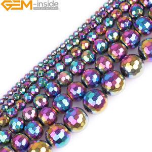 Faceted Gemstone Hematite Rainbow Metallic Coated Reflections Round Loose Beads