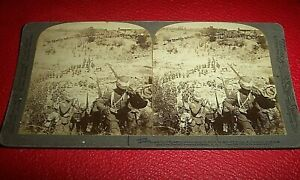 STERIOVIEW CARD c. 1900. ANGLO BOAR WAR. IMAGE OFTHE OCCUPATION OF BRANDFORT