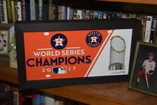 HOUSTON ASTROS CUSTOM FRAMED METAL LICENSE PLATE TAG 2017 WORLD SERIES DARK