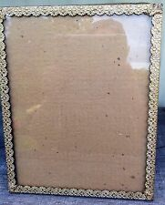Vintage Gold Ornate Flower Metal Glass Picture Frame 8x10 Antique Art Photo *WoW