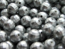 10 X 14mm Faceted acrylic beads - SPRAYED MATTE SILVER