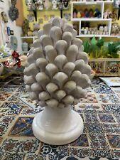 Pigna In Ceramica Di Caltagirone Altezza 20Cm Circa Fatta A Mano Bianco