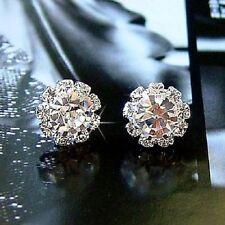 Modeschmuck Ohrringe Ohrstecker Brillianten Steine Silber Imitation Diamanten