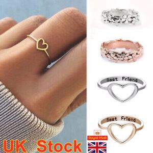 Women Love Heart Best Friend Ring Promise Jewelry Friendship Rings Fashion Gifts