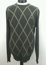 RVCA Mens Line Art Crew Neck Long Sleeve Wool Sweater Argyle Brown Large L NWT