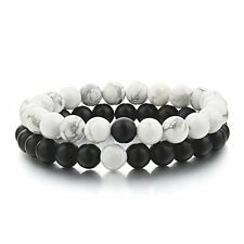Distance Bracelets for Lovers-2pcs Black Matte Agate and White Howlite 6mm Bead