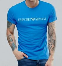 EMPORIO ARMANI Men's Blue T-shirt Chest Logo - Size M, L, XL Muscle fit