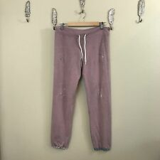 Monrow Small Distressed Purple Plaid Sweatpants Joggers