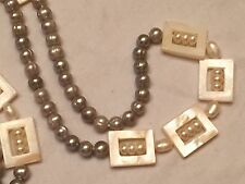"""Gray Pearl and White Mother of Pearl Strand Necklace, 44"""" length"""
