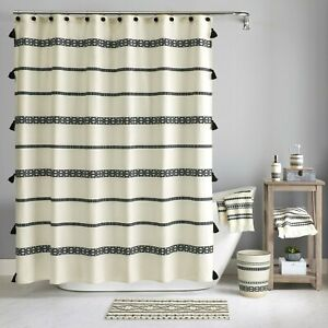 "Better Homes & Gardens Boho Chic Tasseled Cotton 72"" Shower Curtain Bathroom"