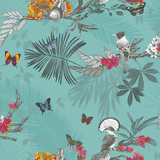 New Arthouse Beautiful Mystical Forest Tropical Teal Glitter Wallpaper - 664801