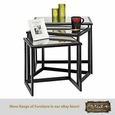 Nested Table End Corner Side Table with Engraved Stainless Steel Top (Set of 3)