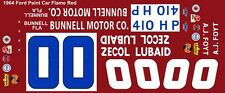 #00 A.J. FOYT Bunnell Motors 1964 1/64th HO Scale Slot Car Decals