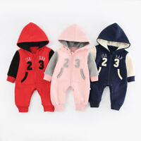 2019 BABY JORDAN ROMPER +HAT BOY GIRL WINTER WOOL WARM BABYGROW OUTFITS CLOTHES