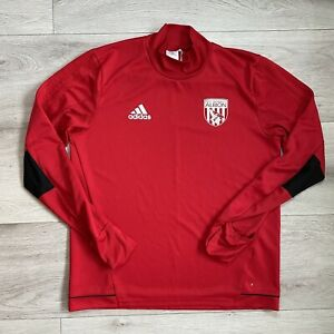 West Bromwich Albion Adidas Long Sleeve Training Jumper Size Large Mens Red Top