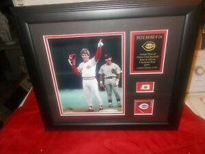Pete Rose Reds Framed -Photo Collage with a Piece of GU Baseball 1 0f 500