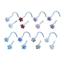 Flower Gem Nose Stud Curved or Straight 316 Surgical Steel Pin Ring Piercing