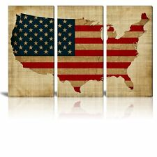 """Canvas - 3 Panel Retro Style Vintage USA Map with American Flag - 24""""x12"""" x 3"""