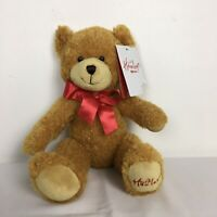 Hamleys Brown Teddy Bear Sitting Plush Soft Toy with Red Ribbon WT Height 9 inch
