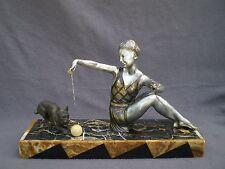 sculpture art deco femme bouledogue francais antique lady statue french bulldog