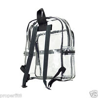 LARGE CLEAR TRANSPARENT SCHOOL SECURITY BACKPACK SHOULDER TRAVEL BOOKS BAG