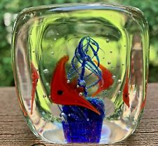 New ListingOrange Fish Glass Cube Dynasty Gallery Paperweight Art Paperweights 2 x 2
