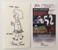 Morrie Turner Signed Autographed 3x5 Card w/ Wee Pals Sketch JSA Certified