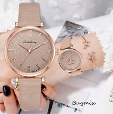 Elegant Women's Wrist Watch Leather Band Rose Gold Dial Ladies Gift Box Option