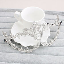Luxury Silver Metal Venetian Laser Cut Masquerade Filigree Mask Rhinestones