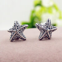 Authentic 100% 925 Sterling Silver Clear CZ Tropical Starfish Stud Earrings