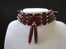 RED CHOKER BUFFALO BONE JEWELRY NECKLACE  REGALIA POW WOW TRIBAL