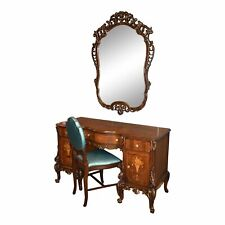 Antique Carved & Inlaid French Style Vanity, Mirror, and Chair w/Gold Detail